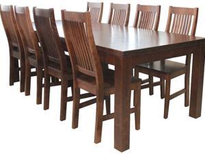 Söögitoakomplekt SALLA + 8 tooli kõva istmega (pähkel)