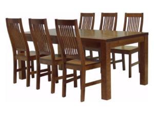 Söögitoakomplekt SALLA + 6 tooli kõva istmega (pähkel)