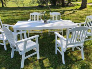 Aiamööbli komplekt KATARINA laud ja 6 tooli (valge)