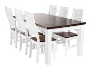 Söögitoakomplekt SALLA + 6 tooli kõva istmega ( valge/pähkel)